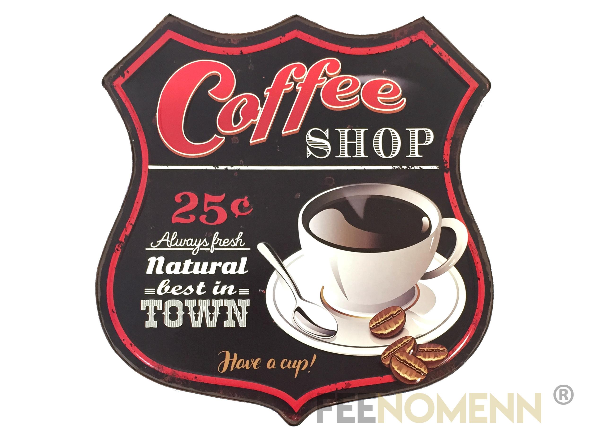 Déco Murale Vintage en Métal - Forme Ecusson - Café / Coffee Shop (42x40cm)