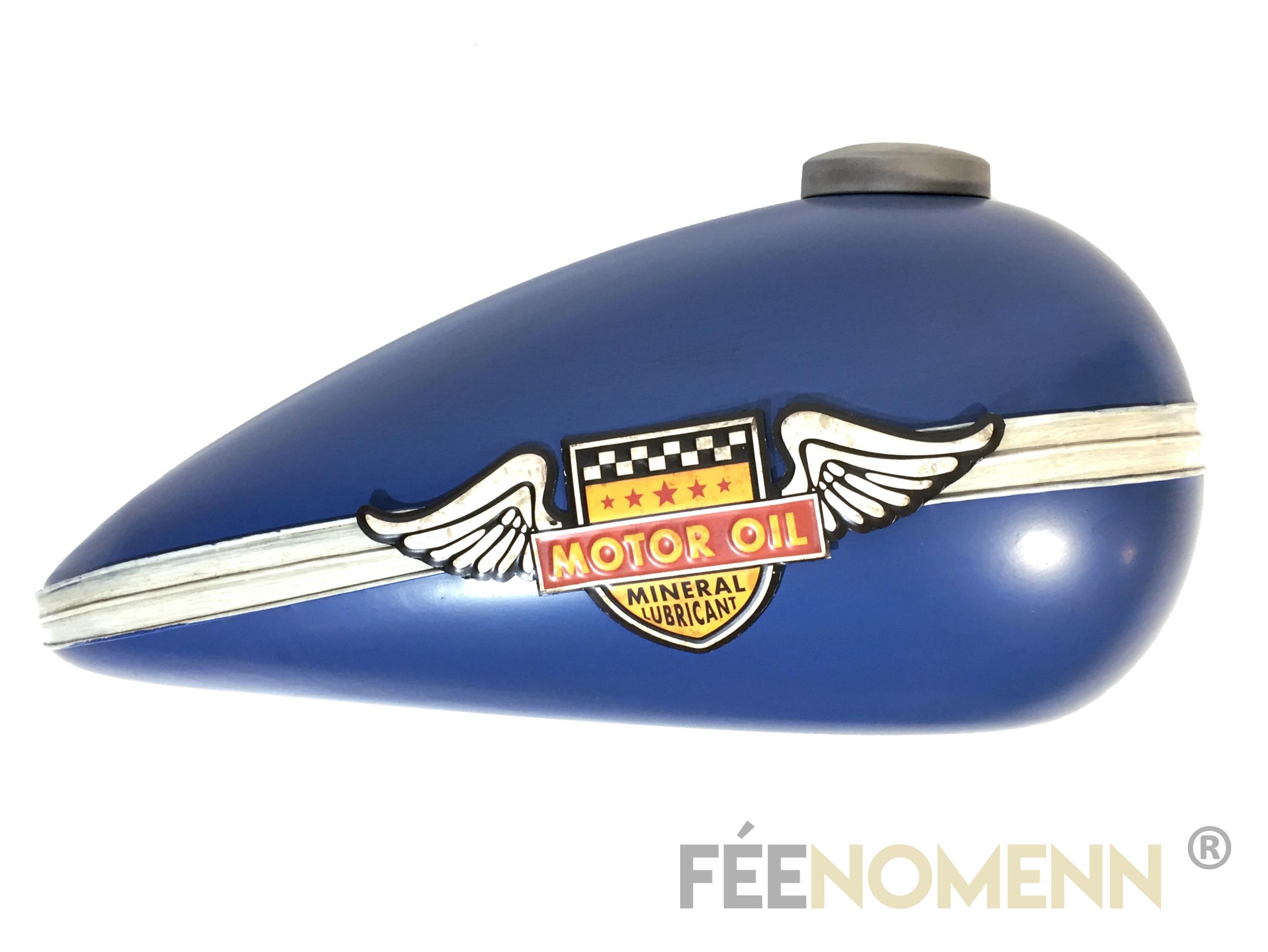 Déco Murale Vintage en Métal - Forme Réservoir Moto Bleu - Motor Oil (52x26cm)