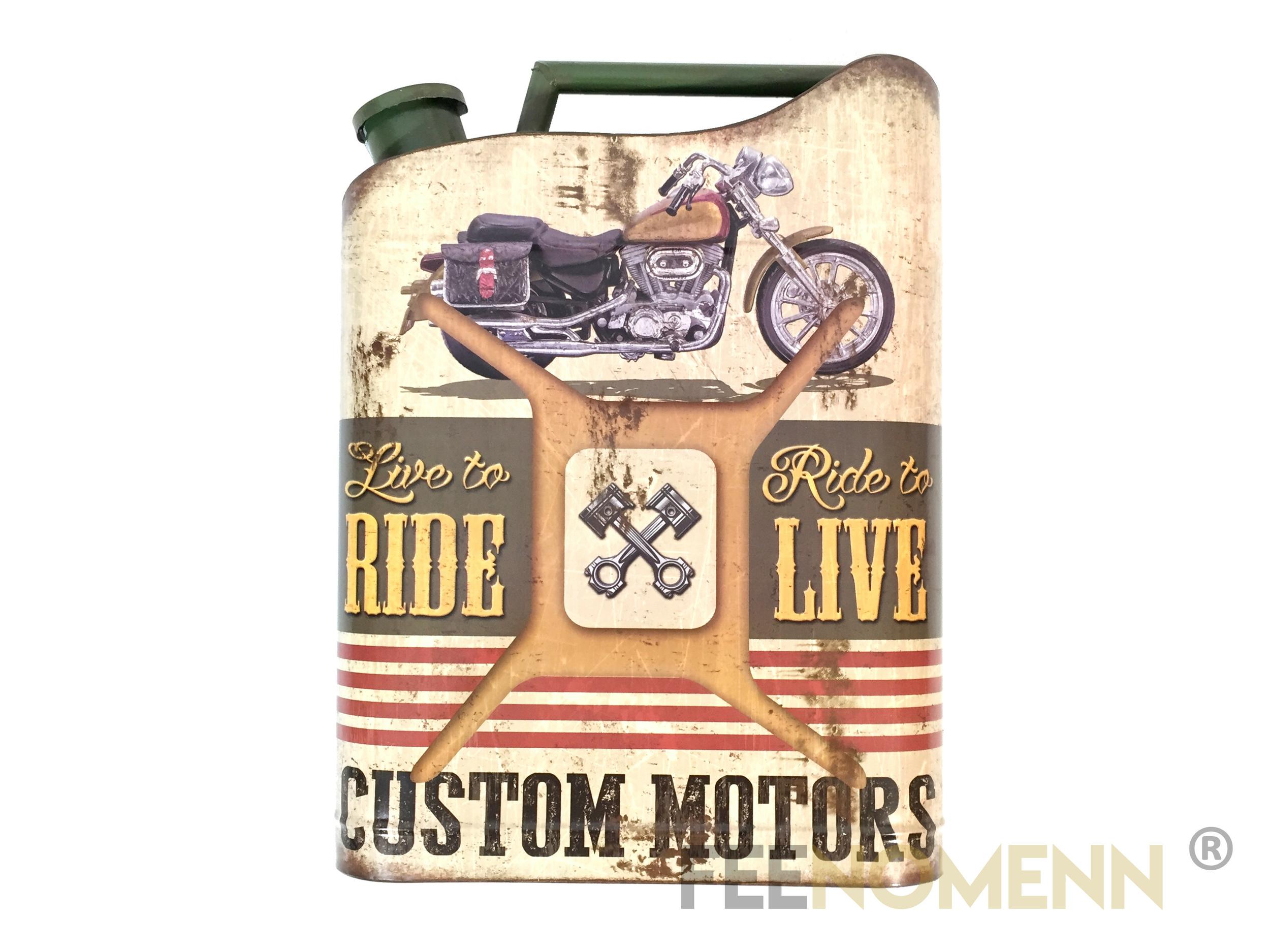 Déco Murale Vintage en Métal - Forme Jerrican / Bidon Huile - Moto Harley (47x35cm)