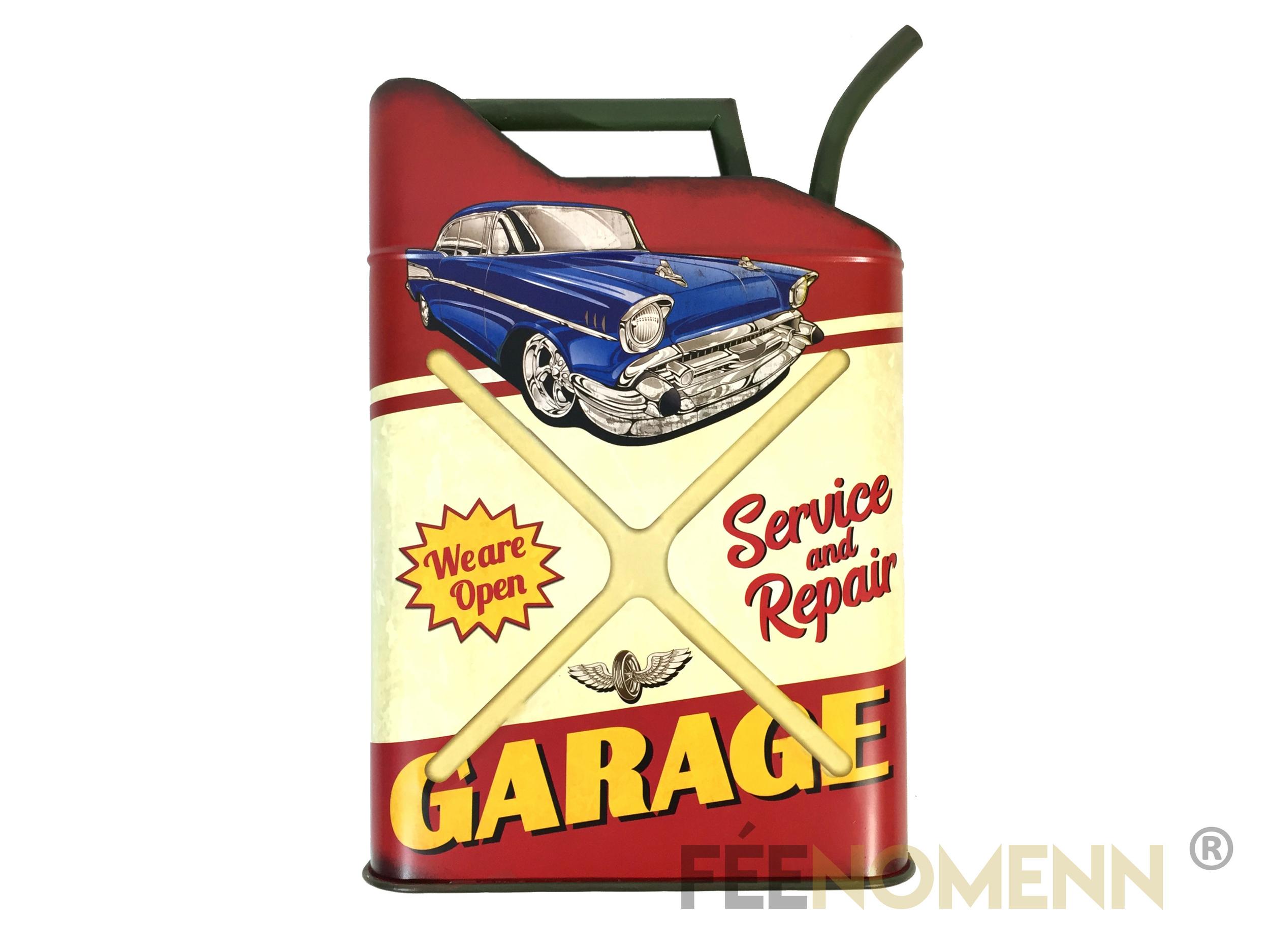Déco Murale Vintage en Métal - Forme Jerrican / Bidon Huile - Voiture Garage (50x32cm)