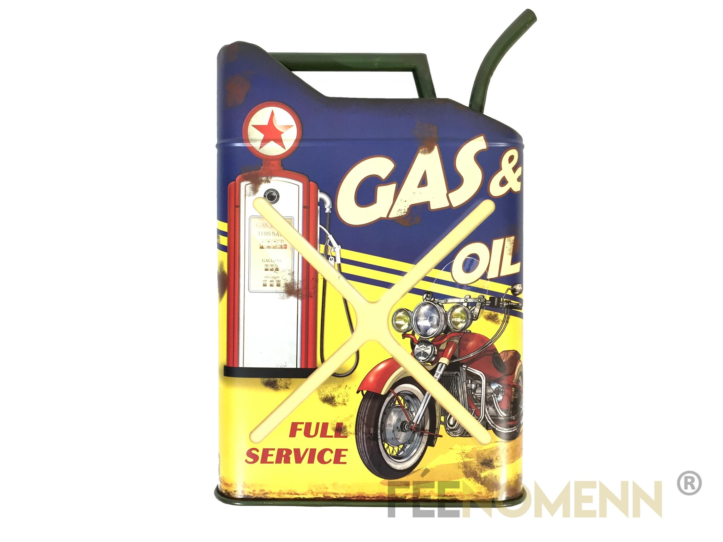 Déco Murale Vintage en Métal - Forme Jerrican / Bidon Huile - Moto Gas Oil (50x32cm)