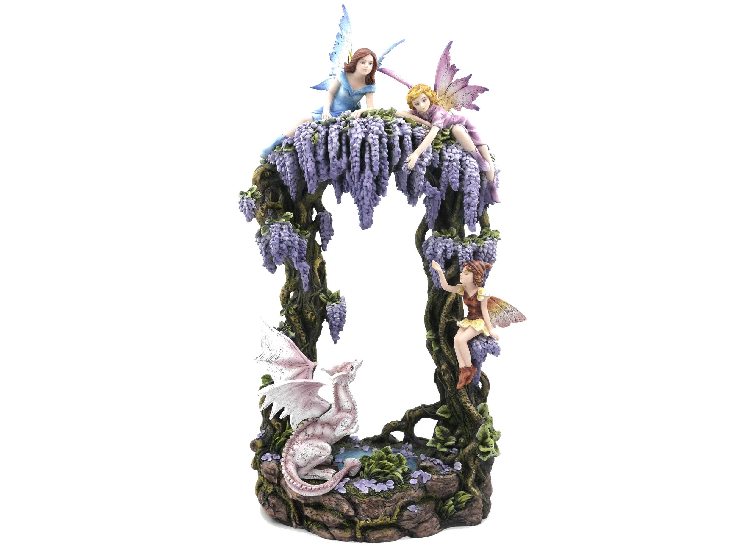 Statuette Décorative Fées et Dragon (H50 x L28cm)