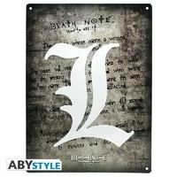 """DEATH NOTE - Plaque métal """"L Symbol"""" (30x40)"""