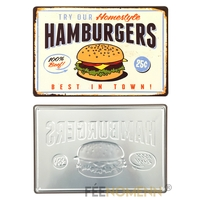 Plaque Métal Déco Vintage - EFFET RELIEF - Hamburgers Maison (20x30cm)