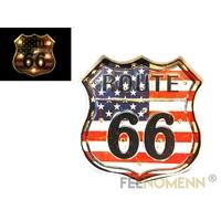 Plaque Métal Lumineuse LED - Déco Murale Vintage - Écusson Route 66 Drapeau USA (36x36cm)