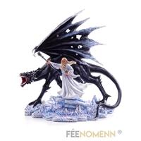 Statuette Mage/Druide et son Dragon (H36 x L33cm)