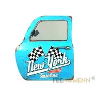 Miroir Déco 3D - Applique Murale Vintage en Métal - Porte / Portière New York Bleu Gasoline (46x42cm)