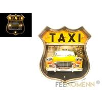 Plaque Métal Lumineuse LED - Déco Murale Vintage - Ecusson Taxi Jaune New York (46x42cm)