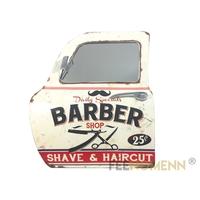 Miroir Déco 3D - Applique Murale Vintage en Métal - Porte / Portière Voiture - Barbier Coiffeur - Barber Shop (46x42cm)