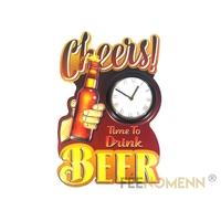 Déco Horloge Vintage en Métal - Cheers BEER / Bière - Time to Drink  (38x26cm)