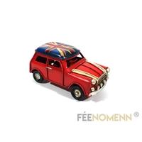 Voiture Métal Deco Vintage - Ancienne Mini avec Drapeau Britannique (11x5cm)