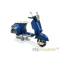 Scooter Métal Deco Vintage - Ancien Vespa Bleu Marine (17x6,5cm)