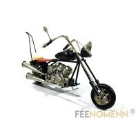 Moto Métal Deco Vintage - Ancienne Harley Noire et Marron (22x8cm)