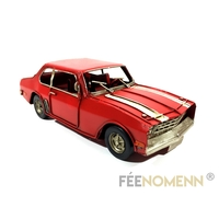 Voiture Métal Deco Vintage - Ancienne Chevelle Rouge 1960 (25x10cm)