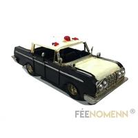 Vehicule Métal Deco Vintage - Ancienne Voiture Police avec Gyrophare (25x9cm)