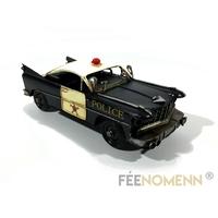 Vehicule Métal Deco Vintage - Ancienne Voiture Police Gotham Style (28x11cm)