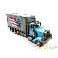 Camion Métal Deco Vintage - Ancien Truck USA Racer (29x10cm)