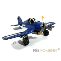 Avion Métal Deco Vintage - Ancien F4U Corsair USA (28x21cm)