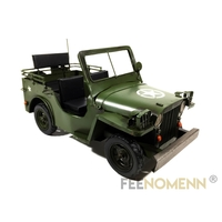 Voiture Métal Deco Vintage - Ancienne Jeep Guerre USA (31,5x15cm)