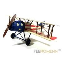 Avion Métal Deco Vintage - Ancien Biplan Guerre USA (32x30cm)