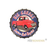 Capsule Métal Vintage - Big Garage - Réparation Voiture Camion (Diam. 40cm)