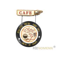 Déco Murale Vintage en Métal - Roue de Voiture - Direction CAFE / Coffee Server Here (60x42cm)