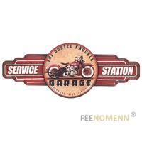 Déco Murale Vintage en Métal - Moto Garage Station Service - Busted knuckle (75x30cm)