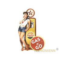 Déco Murale Vintage en Métal - Pin up Pompe à Essence - Gas and Go (51x32cm)