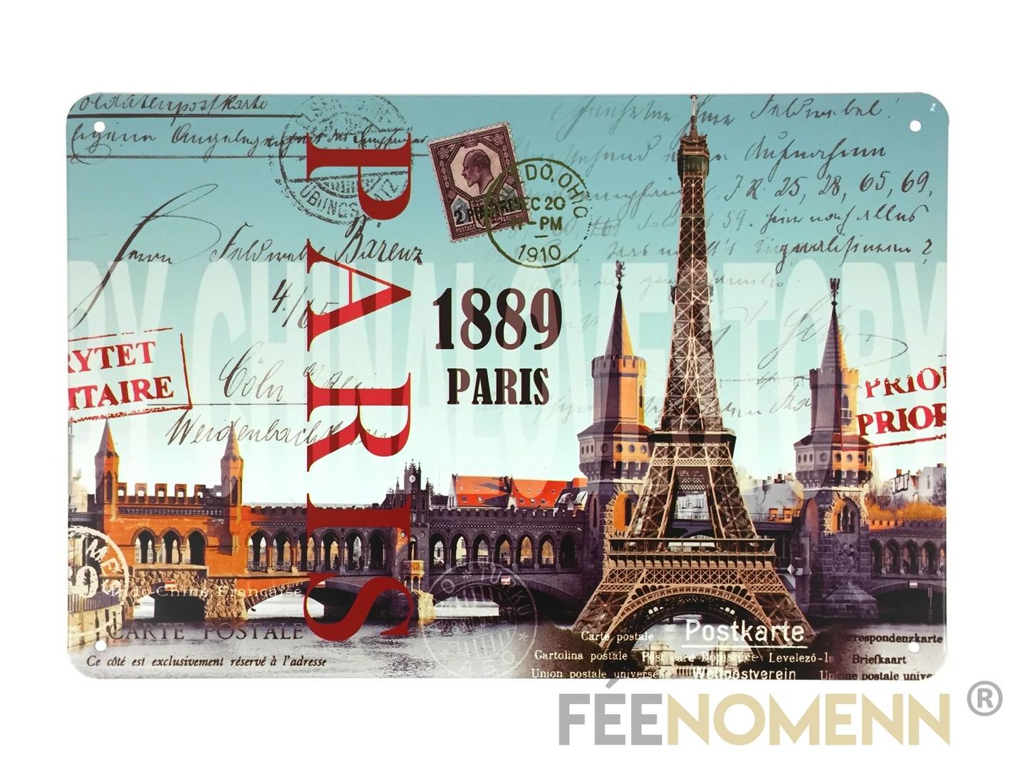 Plaque Métal Déco Vintage - Carte postale PARIS Tour Eiffel 1889 (20x30cm) - DÉCO - ACCESSOIRES ...