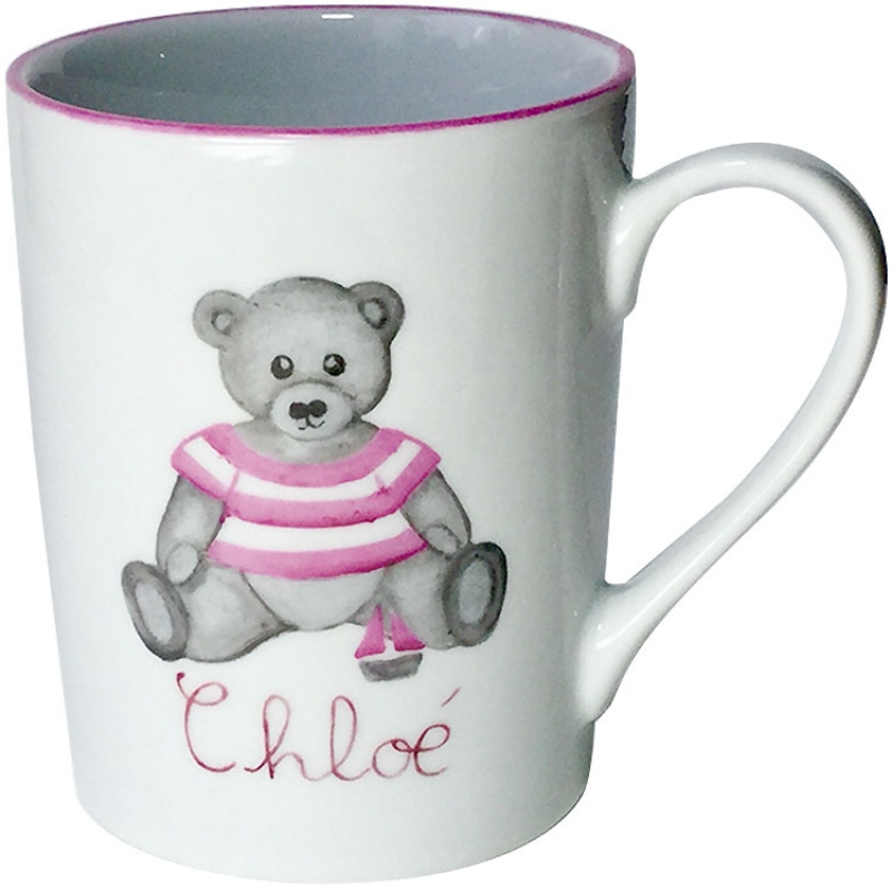 Mug fille ourson rose