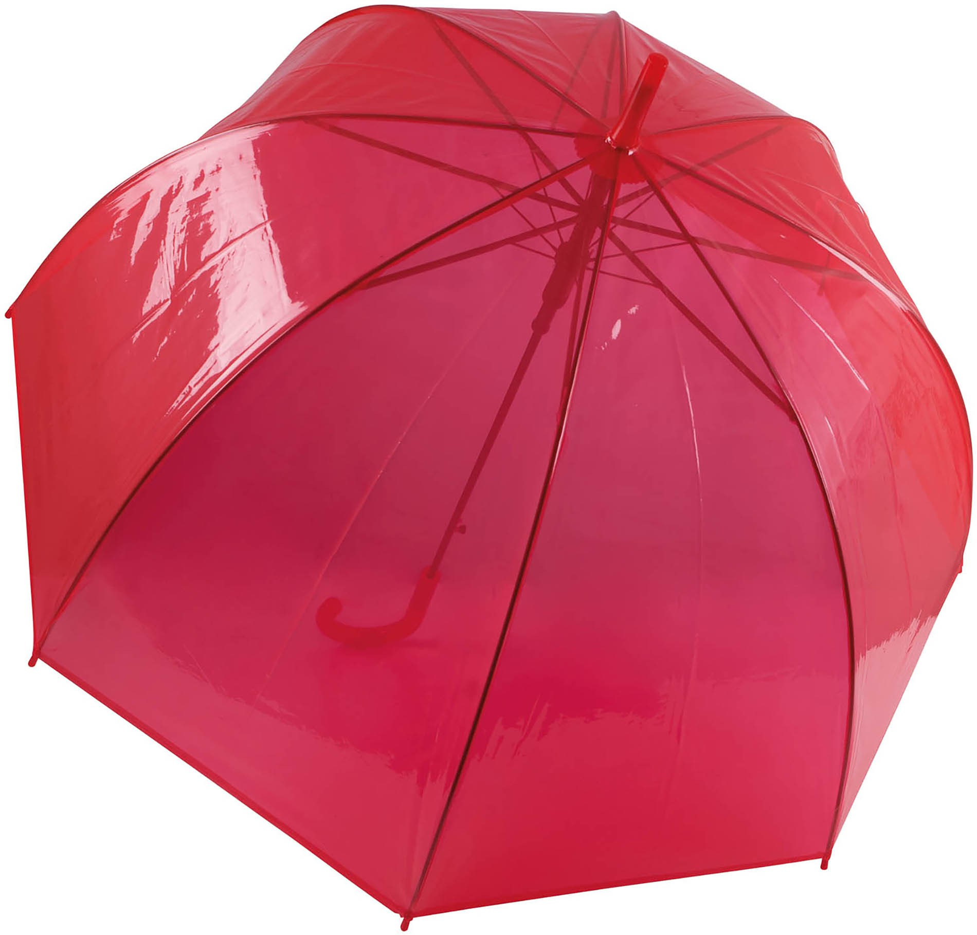 Parapluie transparent rouge