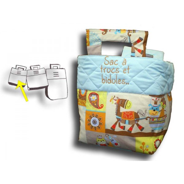 petit sac jouets bleu motif animaux brod et personnalis. Black Bedroom Furniture Sets. Home Design Ideas