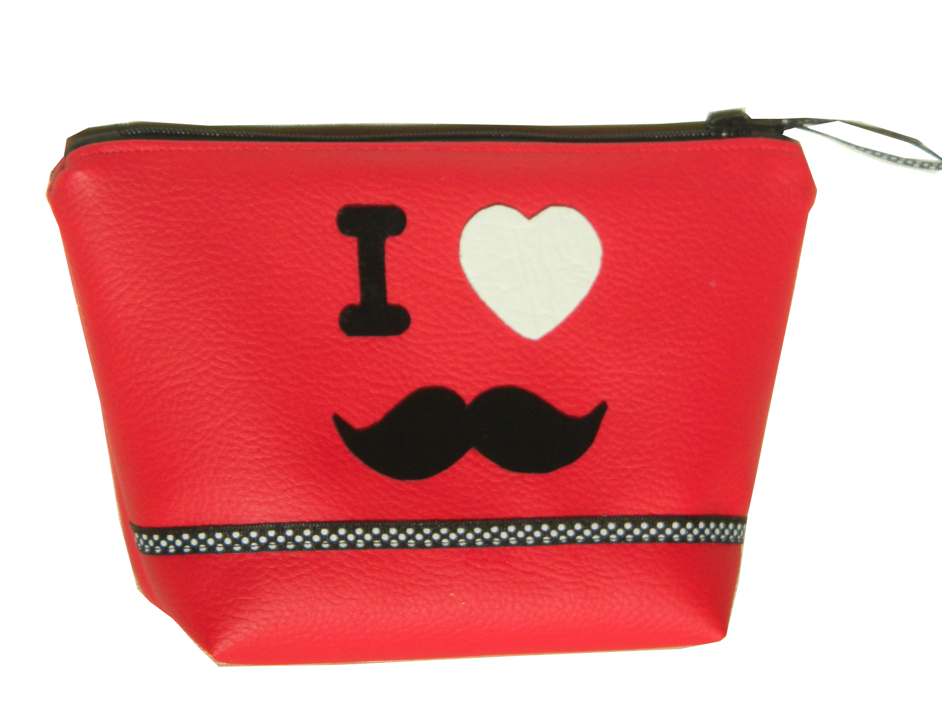 Trousse à maquillage en simili cuir rouge I love moustache