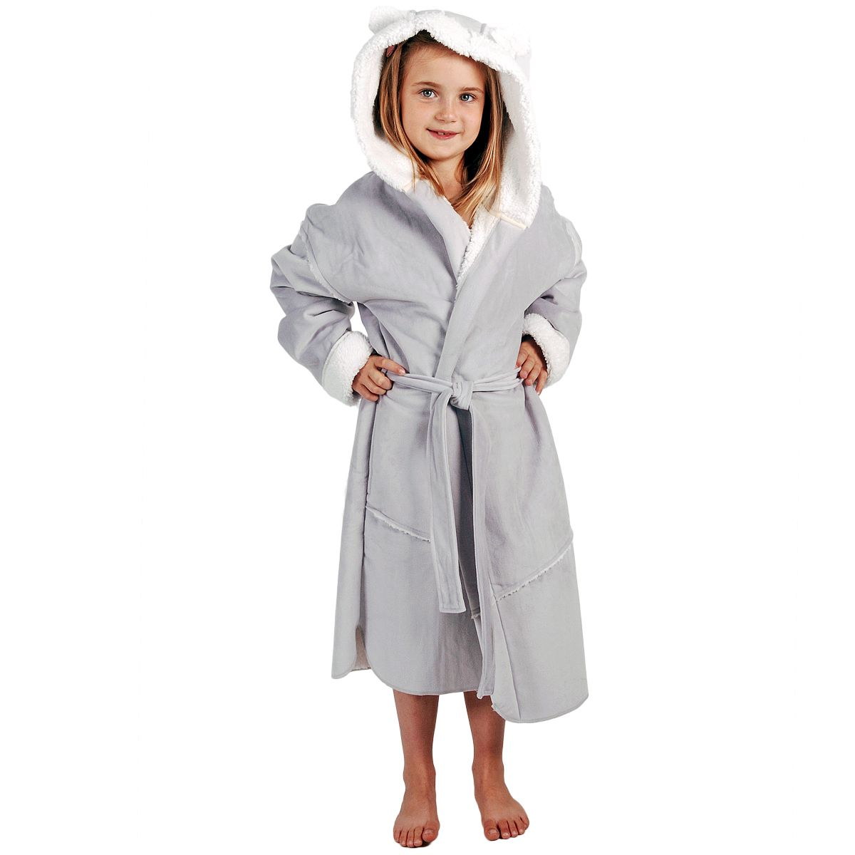 peignoir robe de chambre enfant gris perle en peau lain brod et personnalis au pr nom linge. Black Bedroom Furniture Sets. Home Design Ideas
