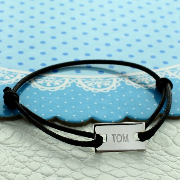 Bracelet enfant cordon gravé forme rectangle