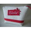 trousse a maquillage personnalisee simili cuir blanc et framboise 2