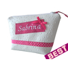 trousse a maquillage simili cuir blanc personnalisee et rose fushia brodee au prenom best