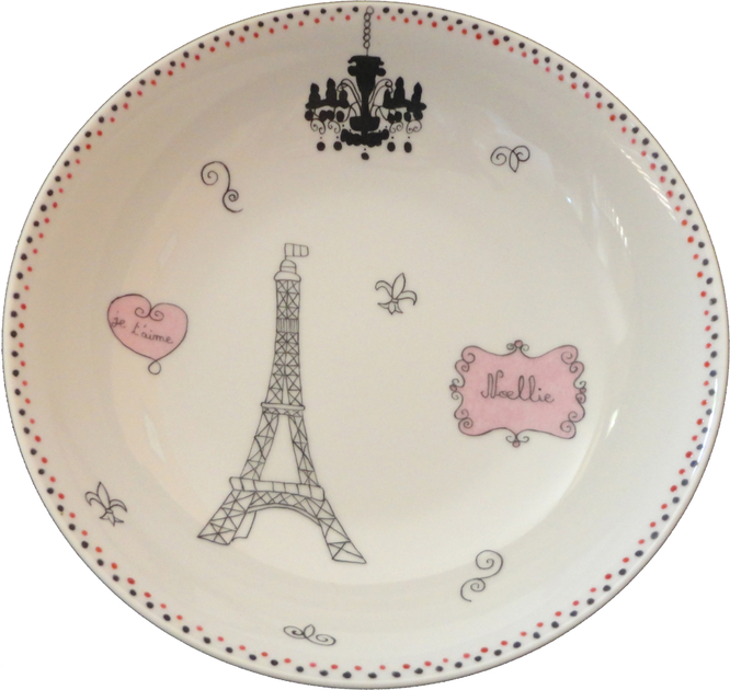 assiette creuse en porcelaine fille paris tour eiffel personnalisable vaisselle en porcelaine. Black Bedroom Furniture Sets. Home Design Ideas