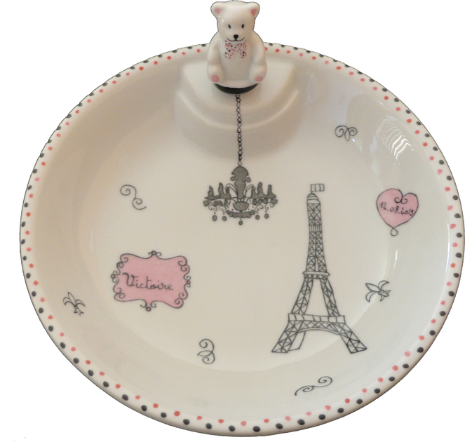 assiette chauffante fille paris motif tour eiffel personnalisable vaisselle en porcelaine bebe. Black Bedroom Furniture Sets. Home Design Ideas