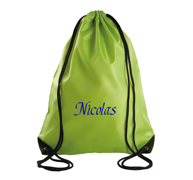 Sac dos cordelette vert lime brod et personnalis au for Sac piscine personnalise