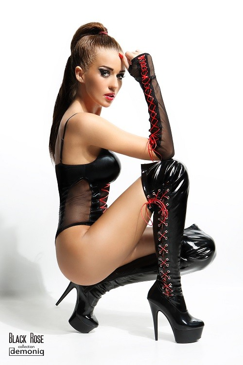 Body sexy avec gants Evelyne Demoniq