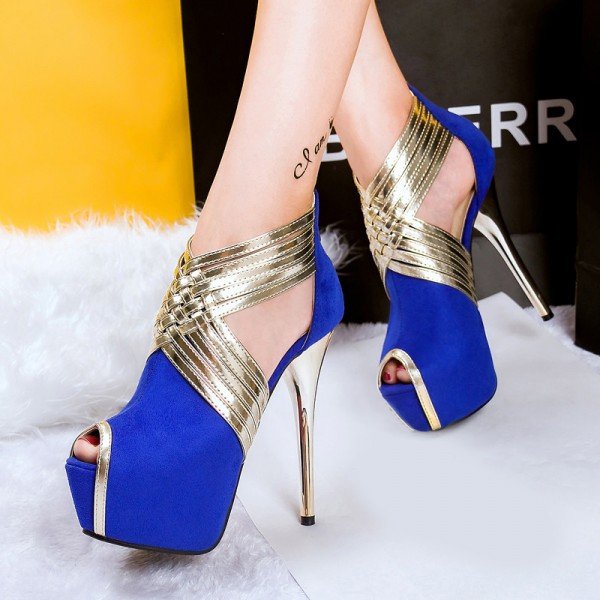Sandales à plateforme - Bleu et Or