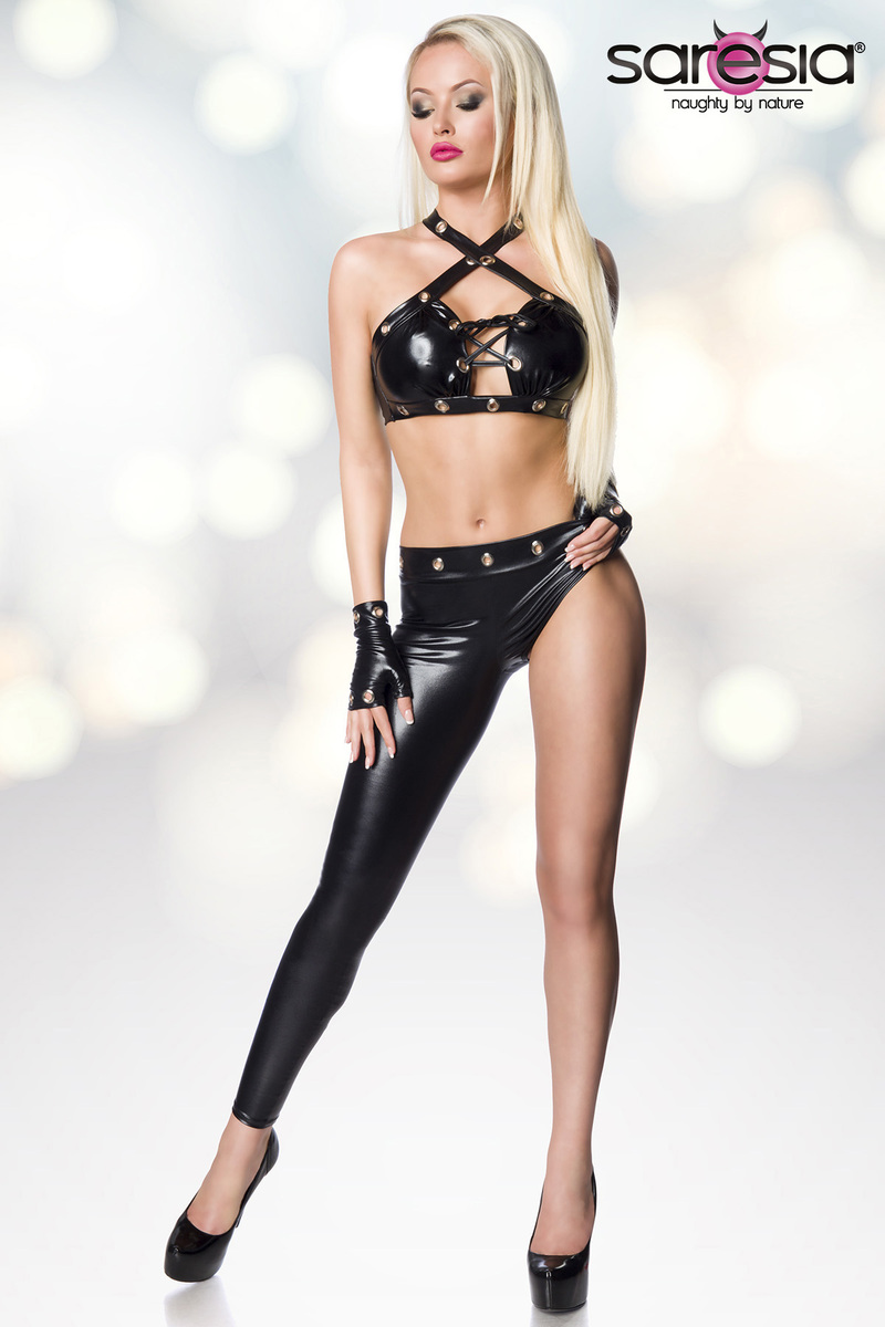 Ensemble asymétrique wetlook gogo clubwear - Saresia
