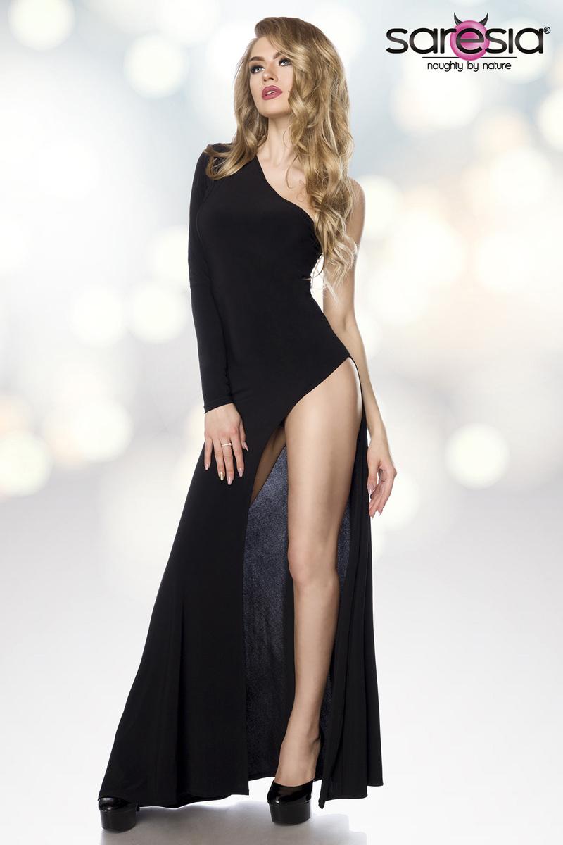Robe longue asymétrique gogo clubwear - Saresia