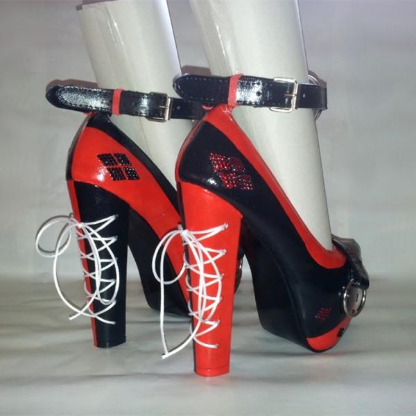 harley quinn escarpins plateforme talons compens s noir rouge chaussures sexy. Black Bedroom Furniture Sets. Home Design Ideas