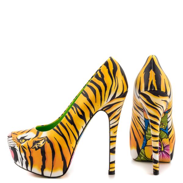 Chaussures à talon et plateforme, imprimé Tigre