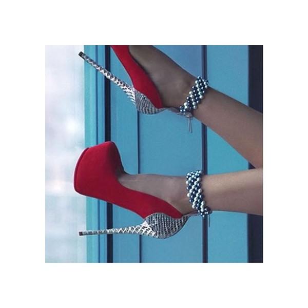 Escarpins plateforme à talons et perles - Rouge et argent