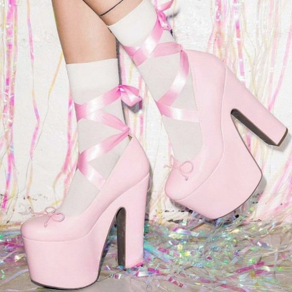Chaussures à talons chunky avec plateforme - Rose