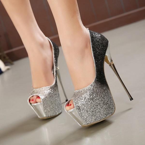 Chaussures pailletées à plateforme, bout ouvert - Argent