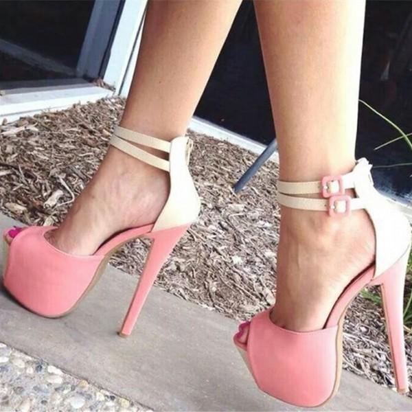 Chaussures à plateforme, bout ouvert - Rose